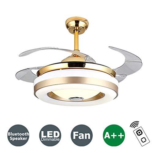 XMYX Deckenventilator mit Beleuchtung Dimmbar und Fernbedienung, Bluetooth Lautsprecher, Leise Deckenlüfter, Modern LED Deckenleuchte Kinderzimmer Wohnzimmer Schlafzimmer Fan Licht, 108 cm