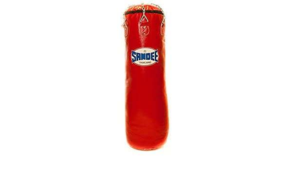 Sandee Punch Bag Boxing Kicking Punching Full Leather Red 4ft 5ft