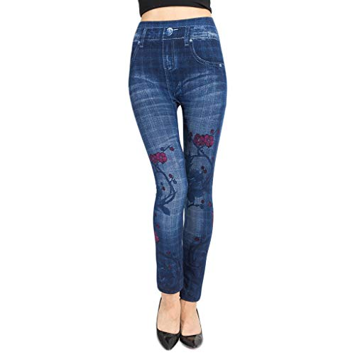Yvelands Damen gedruckt Imitation Denim Leggings Hip Super elastische Slim Slimming Hose(Blue5,XL)