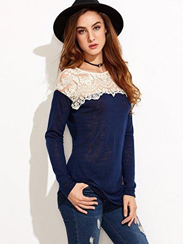 Romwe Damen LangarmLeicht Shirt mit Spitze-Netzstoff Hundhals Elegant Leicht Shirt Oberteil Marineblau
