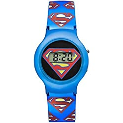 Warner Bros Superman-SM-01Watch-Digital Quartz-Black Dial-Blue Plastic Bracelet