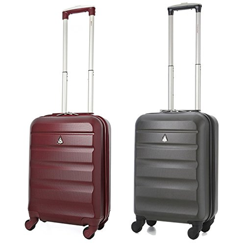Aerolite ABS Cabin Hardshell Travel Luggage, 21-Inch/55cm, Wine + Charcoal, Set of 2