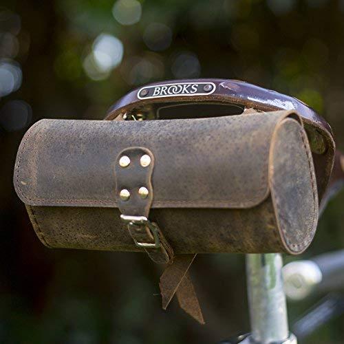 Bicicleta sillín Bolsa Raw de piel auténtica color marrón estilo Vintage, marrón