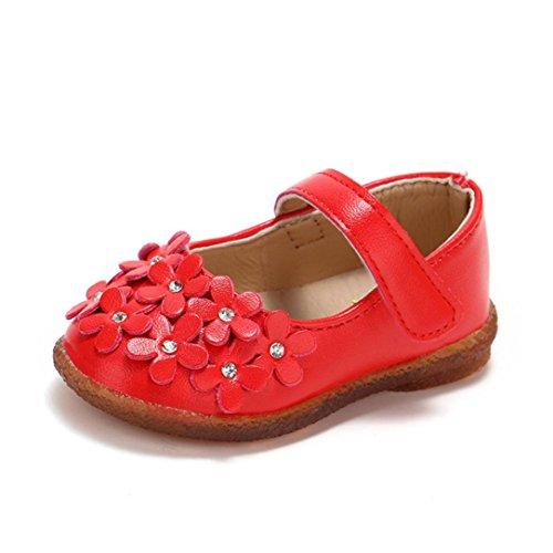 QinMM Kleinkind Baby Mädchen Kinder Blume Leder Einzelne Schuhe Weiche Sohle Prinzessin Schuhe Sommerhaus Außerhalb Nette Sneaker Weiß Rot Rosa 14-24 (21 EU, Rot) (Mädchen Für Rote Glitzer Schuhe)
