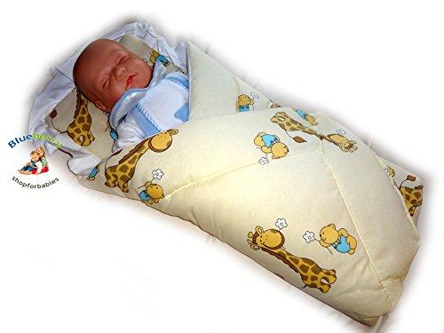 BlueberryShop Klassische mit Kissen Wickeldecke Decke Schlafsack für Neugeborene, Baby Shower GESCHENK, 100% Baumwolle ( 0-3m ) ( 78 x 78 cm ) Creme Giraffe