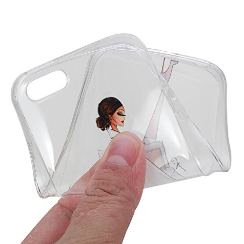 Etsue Doux Protecteur Coque pour iPhone 5/5S/SE,TPU Matériau Frame est Transparent Soft Cover pour iPhone 5/5S/SE,Coloré Motif par Dessin de Mode Case Coque pour iPhone 5/5S/SE + 1 x Bleu stylet + 1 x Fille Moderne