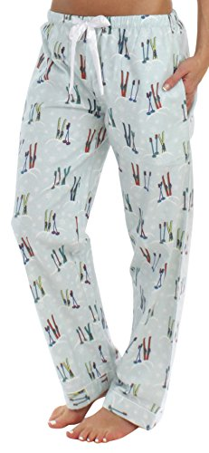 PajamaMania Flanell Pyjama Hose für Damen, Skis (PMF1001-2042-UK-MED) (Hose Pyjama Damen)