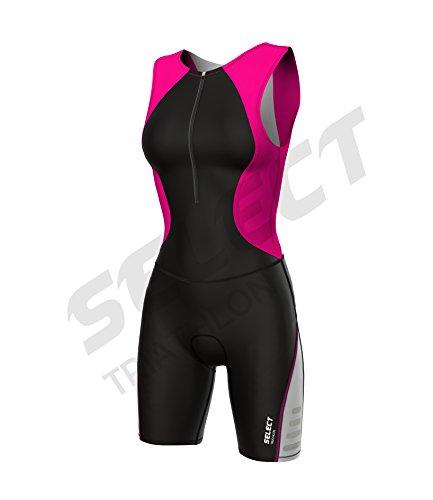 Select Damen Triathlon Anzug Radfahren Running Compression Tri Anzug gepolstert - rose - xl