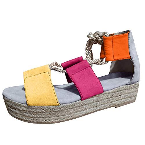 COZOCO Frauen Sommer Mode Schuhe Damen Schnürsandalen Keil Flache Strandschuhe Casual High Heels Plattform Sandalen(Grau,43 EU)