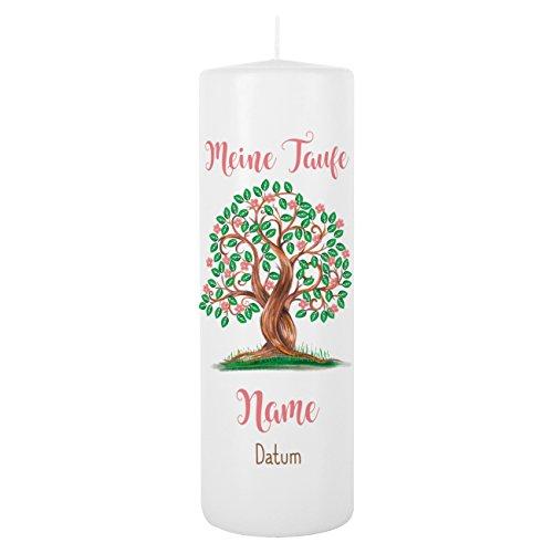Striefchen® Taufkerze für Mädchen - Motiv: Baum des Lebens - inkl. Gratis Beschriftung 250/80mm Brenndauer ca. 120 h 1 - Baum des Lebens - Weiß