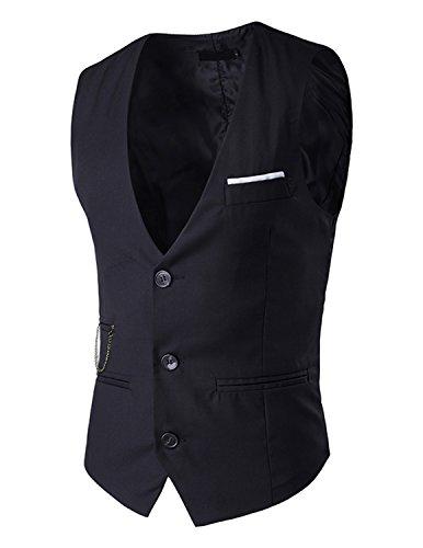 Leisure Homme Gilet Costume Veste Slim Fit Sans Manches Business Mariage Taille S-XXL,Noir,XXL