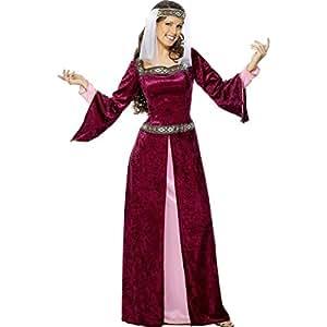 Costume de Marianne châtelaine déguisement médiéval rouge bordeaux Taille S 36738 reine Moyen-âge princesse robe Robin des Bois costume de Lady noble dame de cour suzeraine