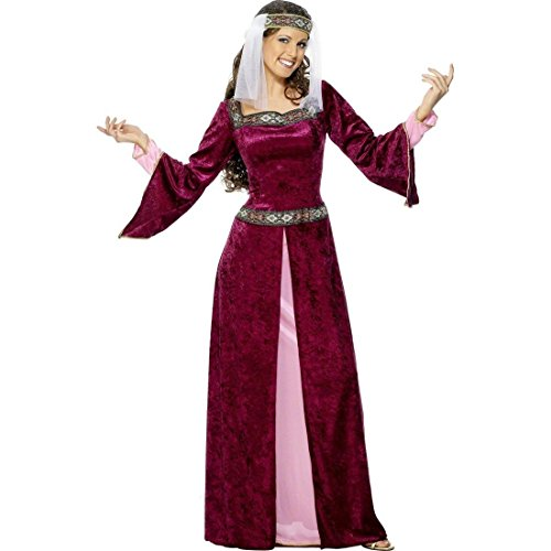 Burgfräulein Marian Kostüm Mittelalterkostüm Burgunderrot S 36/38 Mittelalterliche Königin Prinzessin Kleid Robin Hood Lady Kostüm Hofdame Burgdame (Marian Hood Und Robin Maid)