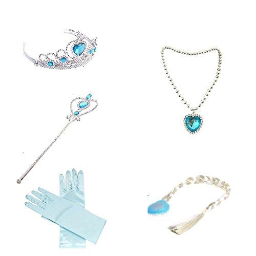 (Canberries® Mädchen Prinzessin blaues Set aus Diadem, Handschuhe, Zauberstab, Zopf,Halskette 2-9 Jahre für Karneval, Fasching, Geburtstagsparties)
