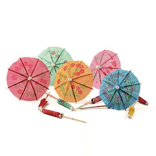 Icebluor 100 Stück handgefertigte Regenschirm-Plektren für tropische Getränke, Pool-Party-Dekorationen, verschiedene Farben, runde Form (Pool-dekorationen Partys Für)