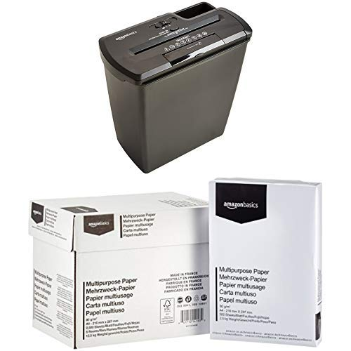 AmazonBasics Aktenvernichter, 8 Blatt, Streifenschnitt, CD-Schredder  mit AmazonBasics Druckerpapier 5x500 Blatt