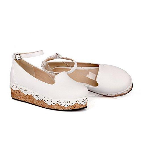 VogueZone009 Femme Boucle Rond à Talon Bas Pu Cuir Couleur Unie Chaussures Légeres Blanc