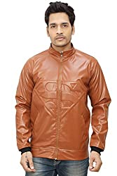 A.B.C. Garments Tan Designer Faux Leather Jacket For Men