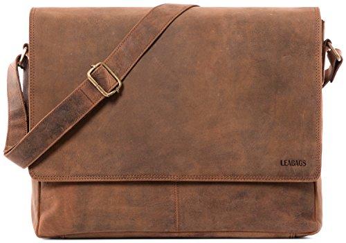 LEABAGS Oxford Umhängetasche Leder Laptoptasche 15 Zoll aus echtem Büffel-Leder im Vintage Look, (LxBxH): ca. 38x10x31 cm - Fox -