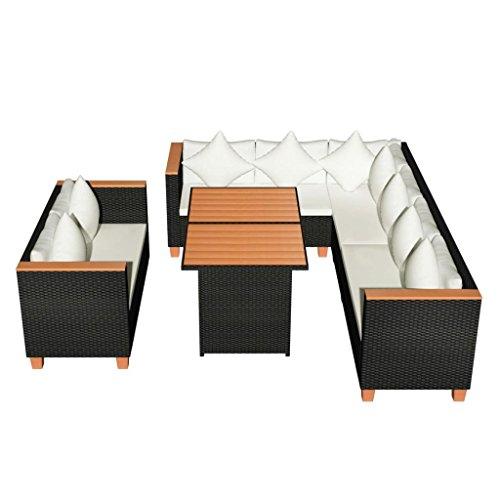 VidaXL Garten Essgruppe 27 Tlg. Poly Rattan WPC Schwarz Lounge Set  Gartenmöbel