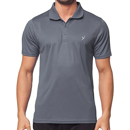 CFLEX Men Sportswear Collection - Herren Funktion Sport Kleidung - Fitness Quickdry Polol-Shirt & Hemd Top Fitness Sport Top Grau Größe XL (Plus Polo Cool)