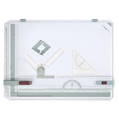 Modrine A3 Multifunktions Kunststoff Zeichenplatte Zeichenbrett 49x35.5cm,mit Parallelbewegung, Winkel einstellbar, Metric Messsystem für Professionell Arbeiten