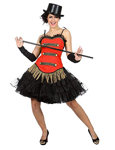 Show Zirkus Tanz Korsett Kostüm Damen Rot Fransen Karneval Fasching Rot 38 ()
