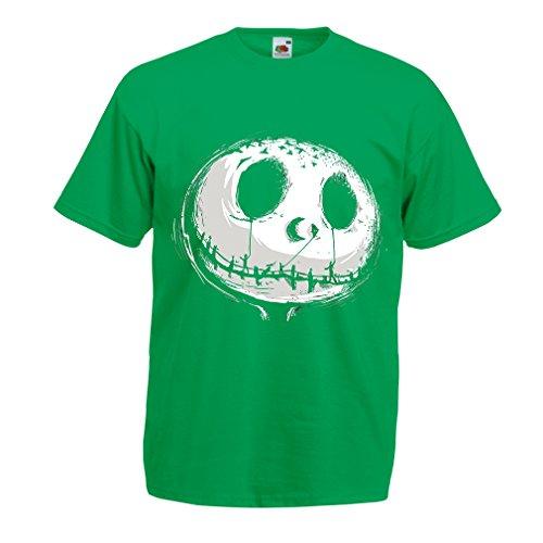 Männer T-Shirt beängstigend Schädel Gesicht - Alptraum - Halloween-Party-Kleidung (Small Grün Mehrfarben)