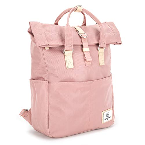 SEVENTEEN LONDON - Moderner und stilvoller 'Soho' Rucksack in rosa mit einem klassischen gefalteten Roll Top Design - perfekt für 13-Zoll-Laptops