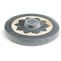 Räucherstäbchenhalter Lotus Ø 10 cm rund aus Speckstein grau mit Perlmutt Muschel Einlage, Stäbchenhalter Halter... preisvergleich bei billige-tabletten.eu