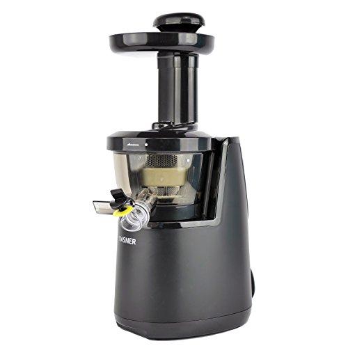 VASNER Entsafter Juica, Slow Juicer schwarz, Saftpresse elektrisch 60 U/min, 150 Watt, Kaltpresse, Saftbehälter, Reinigungsbürste, Tropfschutz