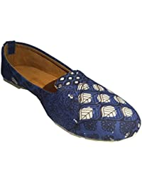 Menter Women's Traditional And Ethnic Appealing Stylish Blue Printed Flats Belly