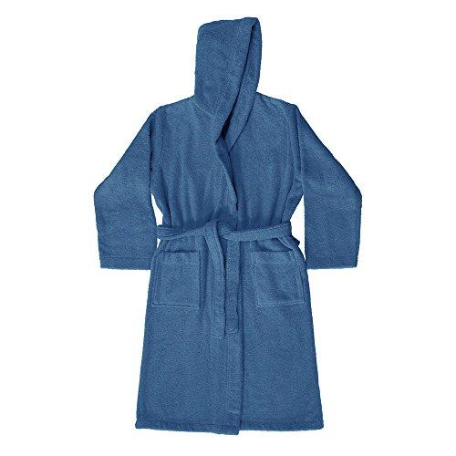 Vetrineinrete® accappatoio con cappuccio e tasca in spugna di cotone 100% leggero unisex uomo e donna utile in viaggio e in palestra (blu, l)