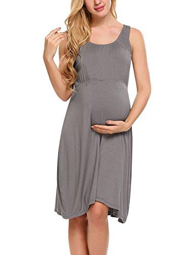 HOTOUCH Damen Umstandskleid Brautkleid Mutterschafts KleidUmstands Schwangerschafts Kleid Armellos Rundhals