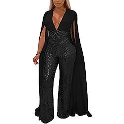 Yulinge Femmes Paillettes Combinaisons Barboteuses Cocktail V Cou Pantalon Plus La Taille Noir XXL
