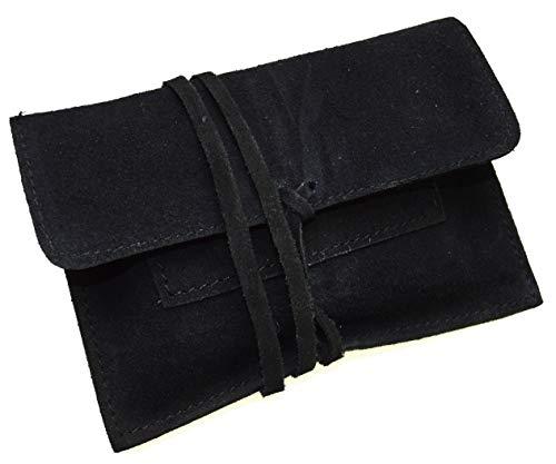 Tabaktasche braun aus echtem Leder mit Paper Fach Tabakbeutel Drehertasche (Schwarz Wild) -