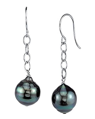 9mm Tahitian South Sea Baroque Cultured Pearl Dangling Tincup Earrings