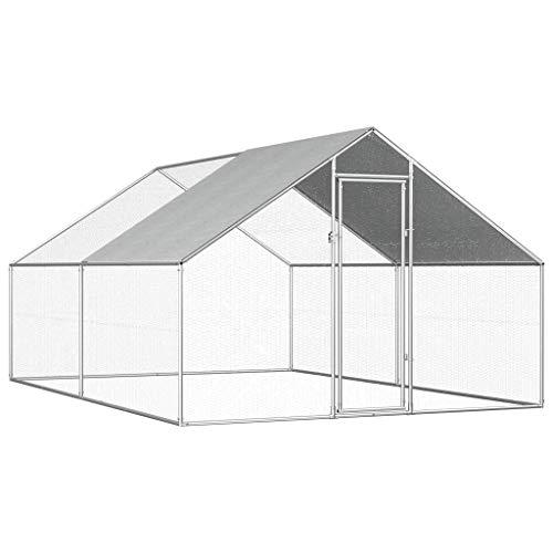 Mewmewcat gabbia per polli da esterno in acciaio zincato 2,75x4x2m