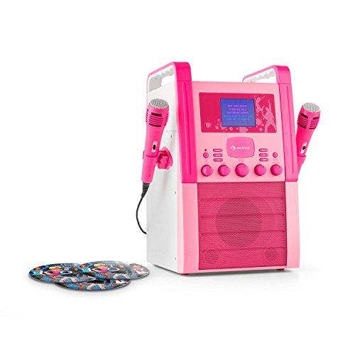 auna KA8P-V2 PK • Karaoke Anlage • Kinder Karaoke Player • Karaoke Set • 2 x Mikrofon • Lautsprecher • CD-Player • A.V.C. Funktion • AUX-Eingang • pink