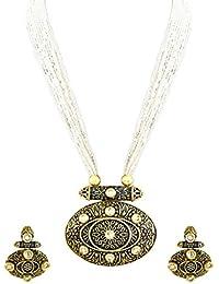 Zaveri Pearls Dark Antique Kundan Necklace Set For Women - ZPFK5988