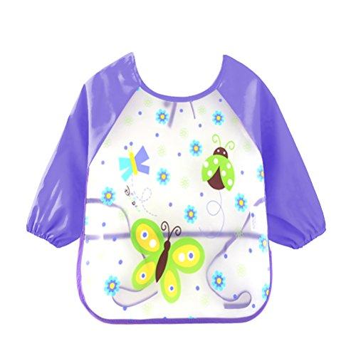 URAQT Unisex Baby Wasserdicht Lätzchen mit Ärmeln Essen und Play Smock Kleinkinder, Schürze PEVA mit Tier (Schmetterling) (Schmetterlings-schürze)