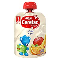 Nestlé CERELAC Fruits Puree Pouch Apple, Banana, Peach, Apricot, Orange, Grape, 90g