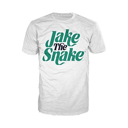 WWE Jake The Snake Logo Official Men's T-Shirt (White) (Large) Logo Sleeper
