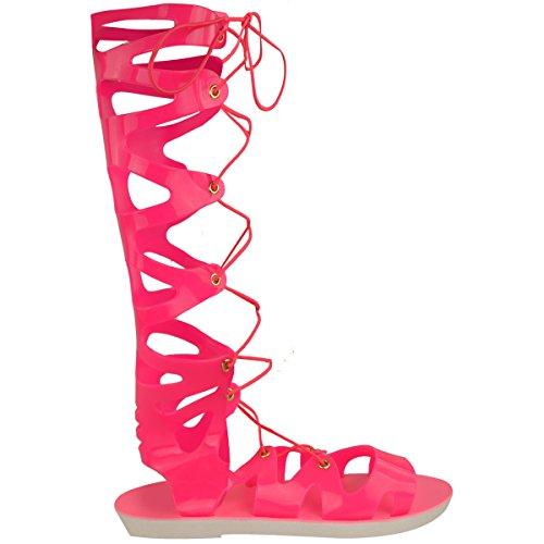 Femmes Genou Lacet Sandales Gel Spartiates Plates Chaussures D'été Taille Néon Rose