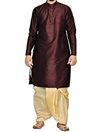 Royal Men's Festive Art Silk Blend Dhoti Kurta Set_Brown