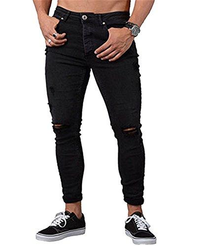 Jeans strappati ginocchia uomo skinny elasticizzati pantaloni casual slim fit nero s