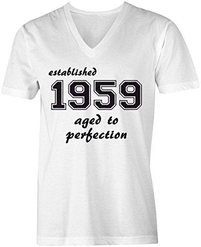Established 1959 aged to perfection VNeck TShirt MännerHerren hochwertig  bedruckt mit lustigem Spruch Die perfekte GeschenkIdee 02 weiss