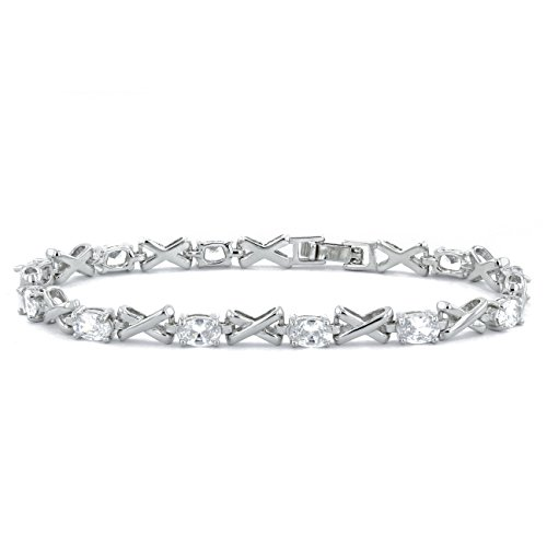 "MUUII ""Kisses"" Silver Tennis Bracelet for Women with Cubic Zirconia (cz) Swarovski ® crystals"