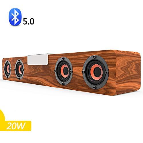 Speaker-EJOYDUTY Hölzerne Bluetooth Surround Sound Bar, 20 W drahtloser tragbarer Heimkino-Audio-Lautsprecher, für TV, PC, Handy, Tablets