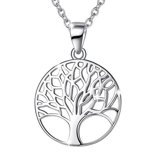Baum des Lebens Kette für Damen Mädchen 925 Sterling Silber Anhänger Halskette - Verstellbar Armkette: 40 + 5 cm